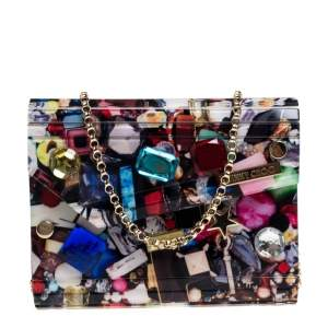 Jimmy Choo Multicolor Acrylic Candy Embellished Chain Clutch