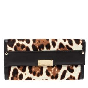 Jimmy Choo Brown/Beige Leopard Print Calfhair and Leather Clutch
