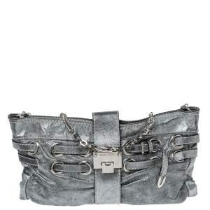 Jimmy Choo Metallic Silver Leather Rio Chain Bag