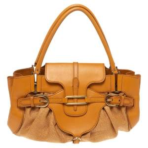 Jimmy Choo Orange Raffia and Leather Tulita Shoulder Bag