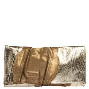 Jimmy Choo Metallic Gold Snakeskin Effect Leather Flap Clutch