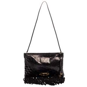 Jimmy Choo Black Python and Suede Fringe Tita Convertible Clutch