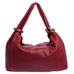 Jimmy Choo Red Leather Large Saba Hobo