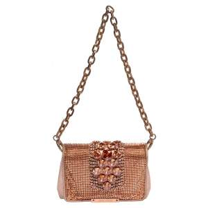 Jimmy Choo Rose Gold Leather and Metal Mesh Crystal Embellished Cecile Bag