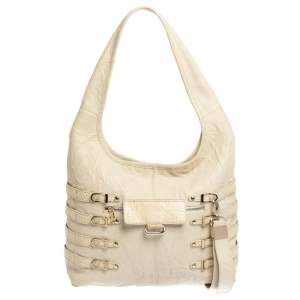 Jimmy Choo Beige Leather and Snakeskin Bree Hobo