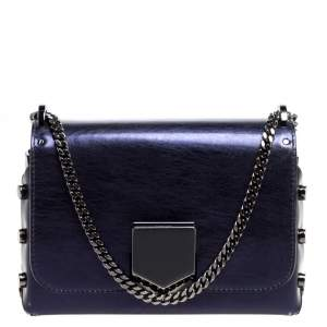 Jimmy Choo Metallic Purple Leather Lockett City Shoulder Bag