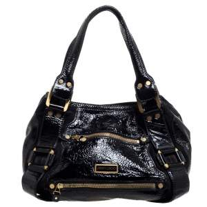 Jimmy Choo Black Patent Leather and Suede Mahala Bag