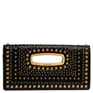 Jimmy Choo Black Leather Studded Clutch