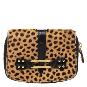 Jimmy Choo Beige/Black Leopard Print Calfhair and Leather Compact Wallet