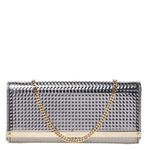 Jimmy Choo Metallic Silver Leather Milla Chain Clutch