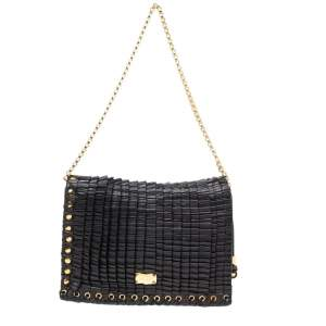 Jimmy Choo Black Leather Pleated Cristina Shoulder Bag