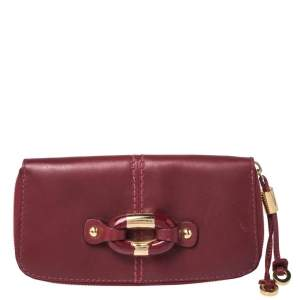 Jimmy Choo Red Leather Ring Buckle Zip Around Continental Wallet