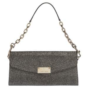 Jimmy Choo Grey Shimmer Fabric Riane Chain Clutch