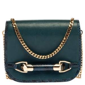 Jimmy Choo Dark Teal Leather and Python Trim Zadie Crossbody Bag