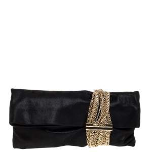 Jimmy Choo Black Shimmer Suede Chandra Clutch