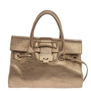 Jimmy Choo Metallic Gold Crinkled Leather Rosalie Satchel