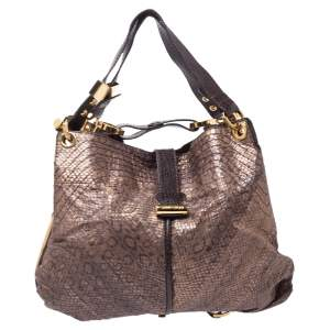 Jimmy Choo Brown Snakeskin Effect Leather Alex Hobo