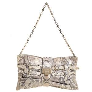 Jimmy Choo Beige Metallic Python Rio Chain Bag