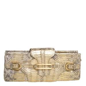 Jimmy Choo Metallic Gold Python Tulita Wristlet Clutch