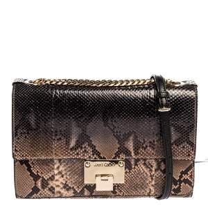 Jimmy Choo Brown Python Rebel Shoulder Bag