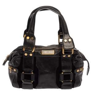 Jimmy Choo Black Leather Malena Satchel