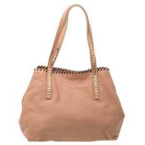Jimmy Choo Beige Grained Leather Whipstitch Tote