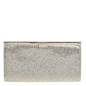 Jimmy Choo Metallic Gold Lace and Glitter Camille Clutch
