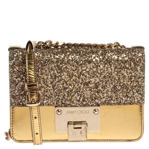 Jimmy Choo Gold Glitter and Patent Leather Mini Rebel Crossbody Bag