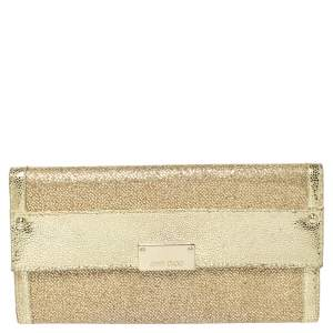 Jimmy Choo Metallic Gold Glitter and Patent Leather Reese Flap Clutch
