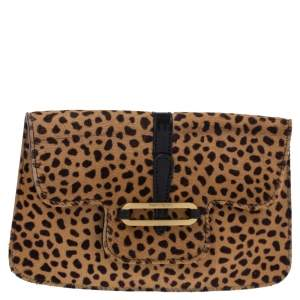 Jimmy Choo Beige/Black Leopard Print Calfhair and Leather Clutch
