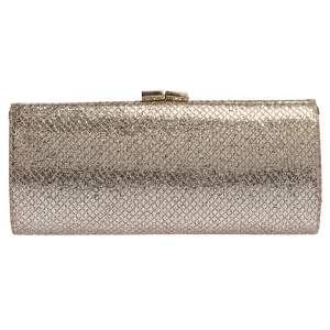 Jimmy Choo Gold Glitter Twill Tube Clutch