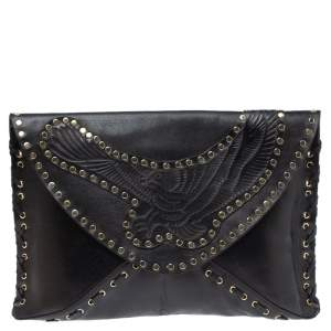 Jimmy Choo Black Studded Leather Flap Clutch