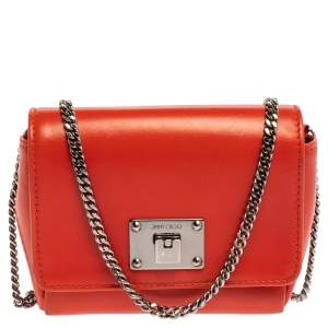 Jimmy Choo Orange Leather Mini Ruby Crossbody Bag