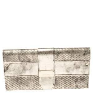 Jimmy Choo Gold Textured Leather Ubai Flap Continental Wallet