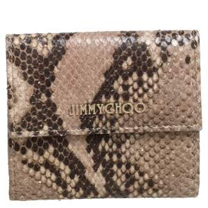 Jimmy Choo Beige Python Effect Leather French Flap Wallet