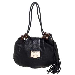 Jimmy Choo Black Crinkled Leather Roxana Hobo