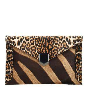 Jimmy Choo Brown Pony Hair Clutch Bag