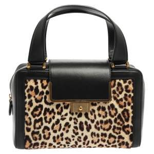 Jimmy Choo Black Leopard Print Calfhair and Leather Catherine Satchel