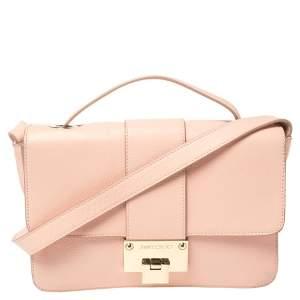 Jimmy Choo Light Pink Leather Rebel Top Handle Bag