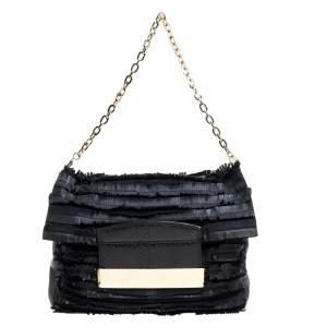 Jimmy Choo Black Leather and Suede Carolina Fringe Shoulder Bag