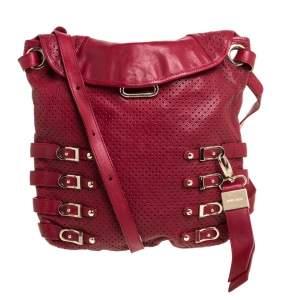 Jimmy Choo Red Perforated Leather Brina Shoulder Bag