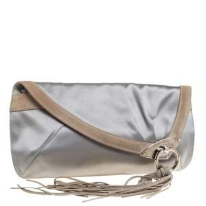 Jimmy Choo Grey Satin and Suede Carissa Clutch