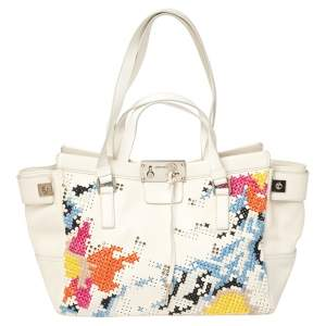 Jimmy Choo White Cross Stitched/Embellished Leather Tote