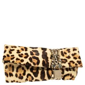 Jimmy Choo Beige/Brown Leopard Print Calfhair Chandra Clutch