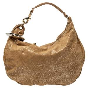 Jimmy Choo Gold Shimmering Leather Large Solar Hobo