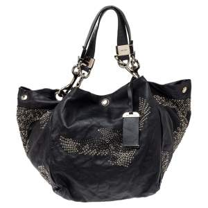 Jimmy Choo Black Leather Lohla Grommet Hobo
