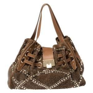 Jimmy Choo Brown Suede and Leather Ramona Studded Tote