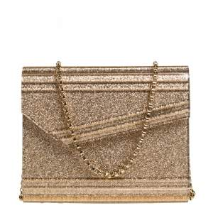 Jimmy Choo Gold Glitter Acrylic Candy Chain Clutch