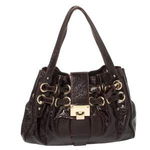 Jimmy Choo Dark Plum Patent Leather Ramona Tote