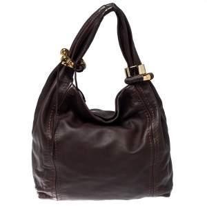 Jimmy Choo Dark Brown Leather Medium Saba Hobo
